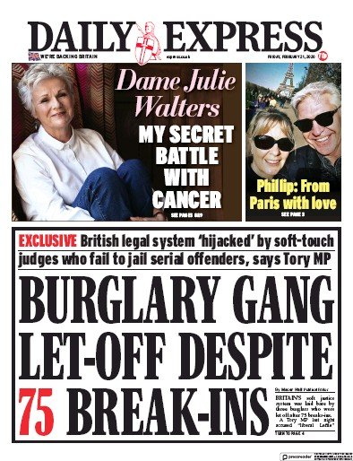Daily Express Newspaper Front Page (UK) for 21 February 2020