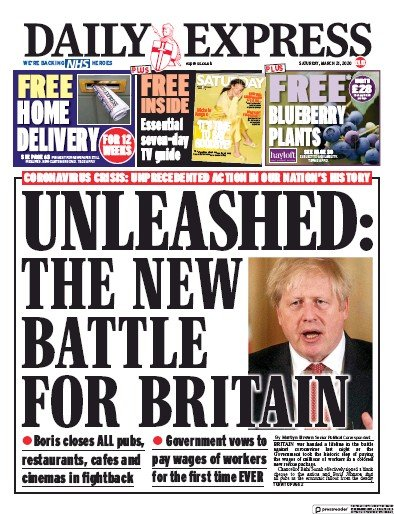Daily Express Newspaper Front Page (UK) for 21 March 2020