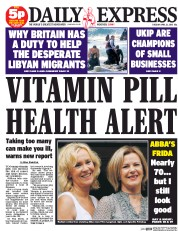Daily Express (UK) Newspaper Front Page for 21 April 2015