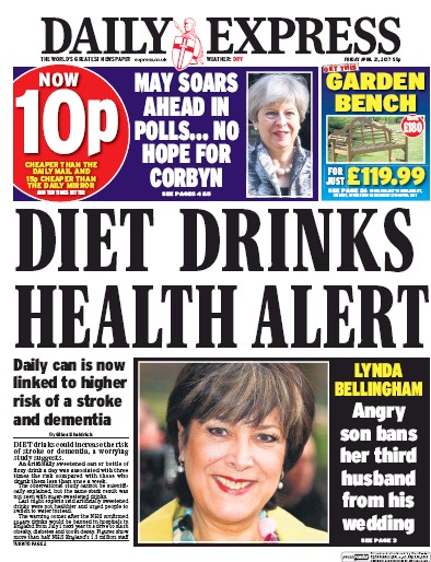 Daily Express Newspaper Front Page (UK) for 21 April 2017