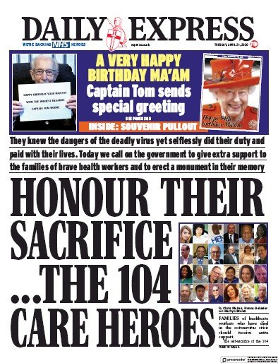 Daily Express Newspaper Front Page (UK) for 21 April 2020