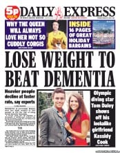 Daily Express () Newspaper Front Page for 21 August 2012