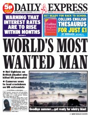 Daily Express (UK) Newspaper Front Page for 21 August 2014