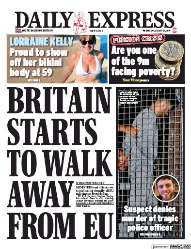 Daily Express Newspaper Front Page (UK) for 21 August 2019