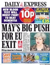 Daily Express (UK) Newspaper Front Page for 21 September 2017