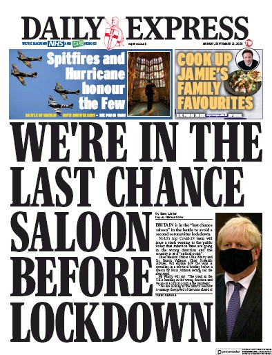 Daily Express Newspaper Front Page (UK) for 21 September 2020