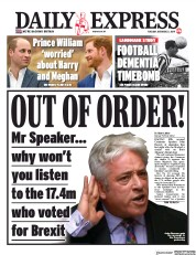 Daily Express (UK) Newspaper Front Page for 22 October 2019
