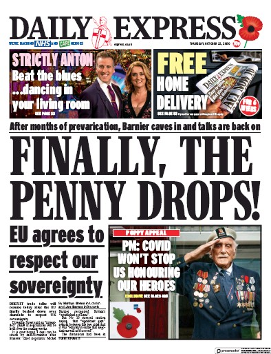 Daily Express Newspaper Front Page (UK) for 22 October 2020