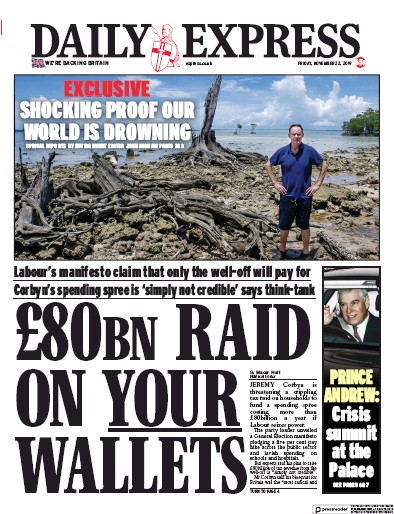 Daily Express Newspaper Front Page (UK) for 22 November 2019