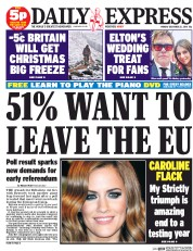Daily Express (UK) Newspaper Front Page for 22 December 2014