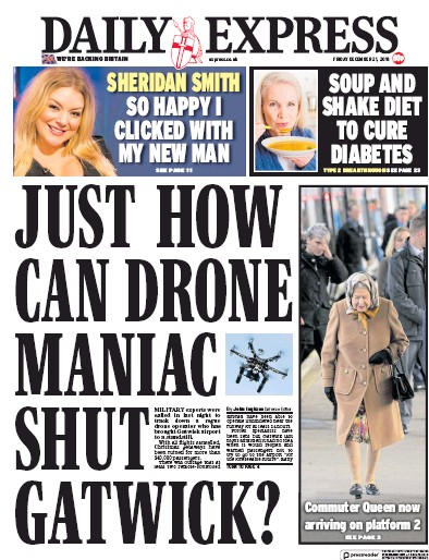 Daily Express Newspaper Front Page (UK) for 22 December 2018