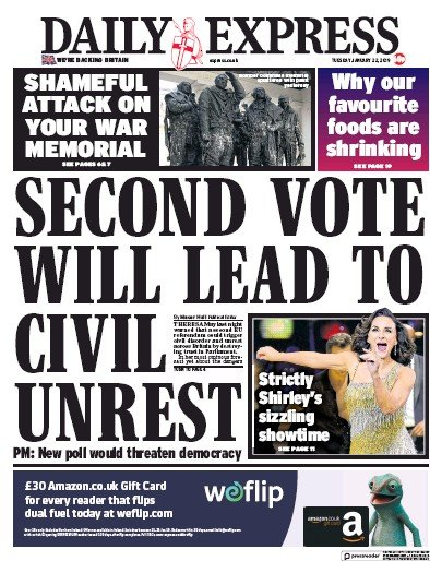 Daily Express Newspaper Front Page (UK) for 22 January 2019