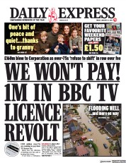 Daily Express front page for 22 January 2021