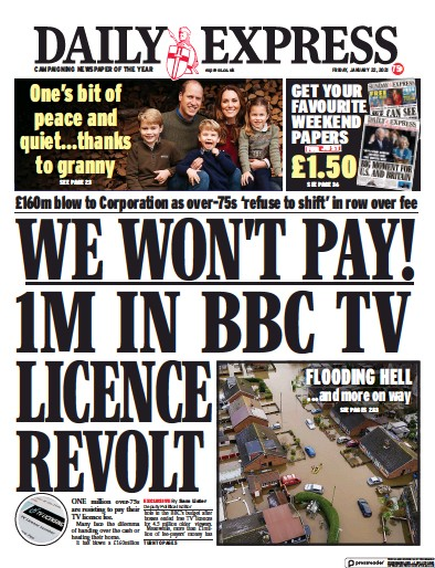 Daily Express Newspaper Front Page (UK) for 22 January 2021