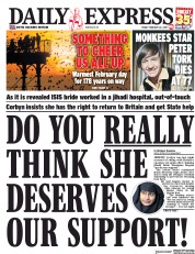 Daily Express (UK) Newspaper Front Page for 22 February 2019