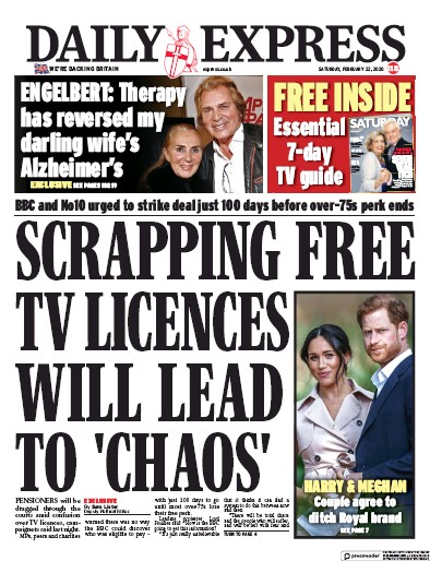 Daily Express Newspaper Front Page (UK) for 22 February 2020