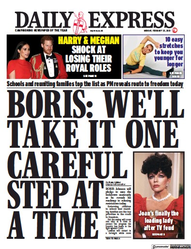Daily Express Newspaper Front Page (UK) for 22 February 2021
