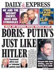 Daily Express (UK) Newspaper Front Page for 22 March 2018