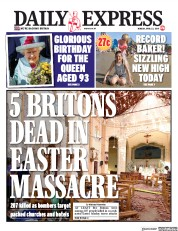 Daily Express (UK) Newspaper Front Page for 22 April 2019