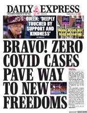Daily Express front page for 22 April 2021