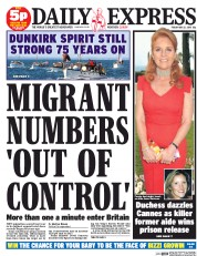Daily Express (UK) Newspaper Front Page for 22 May 2015