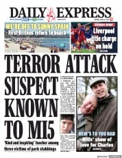 Daily Express front page for 22 June 2020