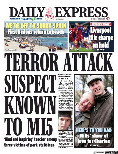 Daily Express Newspaper Front Page (UK) for 22 June 2020