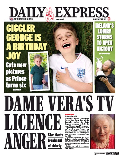 Daily Express Newspaper Front Page (UK) for 22 July 2019