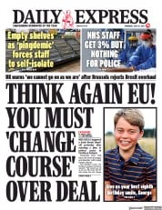 Daily Express () Newspaper Front Page for 22 July 2021