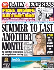 Daily Express (UK) Newspaper Front Page for 22 September 2014