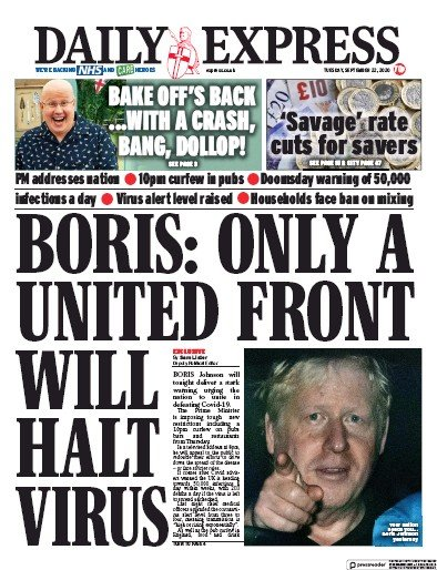 Daily Express Newspaper Front Page (UK) for 22 September 2020