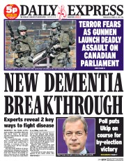 Daily Express (UK) Newspaper Front Page for 23 October 2014