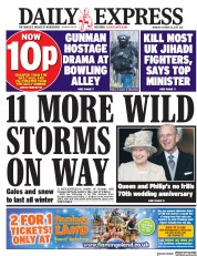 Daily Express (UK) Newspaper Front Page for 23 October 2017