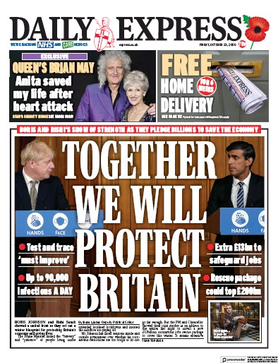 Daily Express Newspaper Front Page (UK) for 23 October 2020