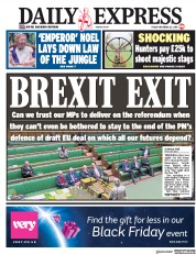 Daily Express (UK) Newspaper Front Page for 23 November 2018
