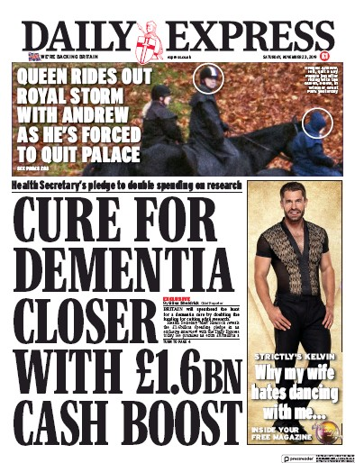 Daily Express Newspaper Front Page (UK) for 23 November 2019