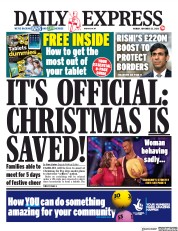 Daily Express front page for 23 November 2020