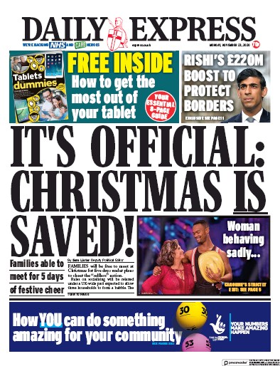 Daily Express Newspaper Front Page (UK) for 23 November 2020
