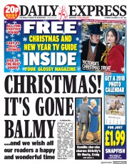 Daily Express (UK) Newspaper Front Page for 23 December 2017