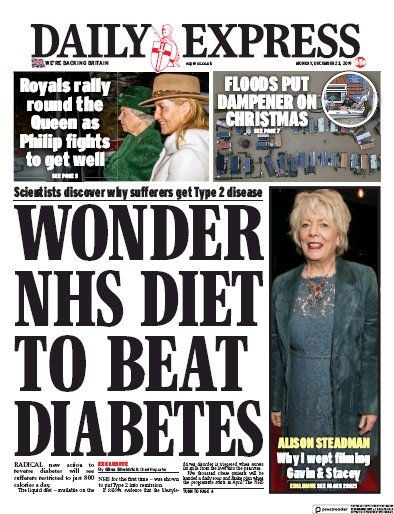 Daily Express Newspaper Front Page (UK) for 23 December 2019