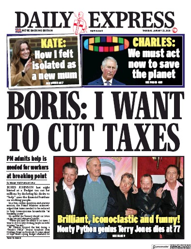 Daily Express Newspaper Front Page (UK) for 23 January 2020