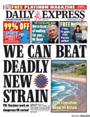 Daily Express front page for 23 January 2021