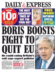 Daily Express (UK) Newspaper Front Page for 23 February 2016