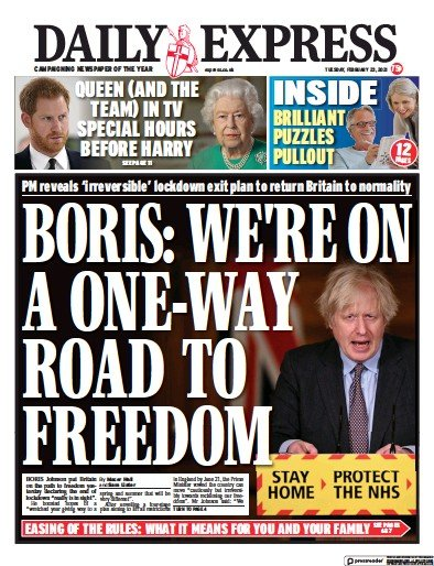 Daily Express Newspaper Front Page (UK) for 23 February 2021