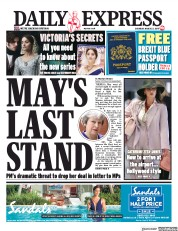 Daily Express (UK) Newspaper Front Page for 23 March 2019