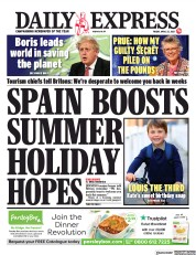 Daily Express front page for 23 April 2021