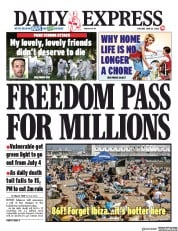 Daily Express front page for 23 June 2020