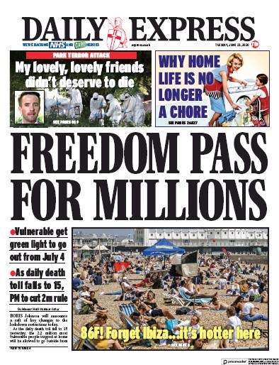 Daily Express Newspaper Front Page (UK) for 23 June 2020