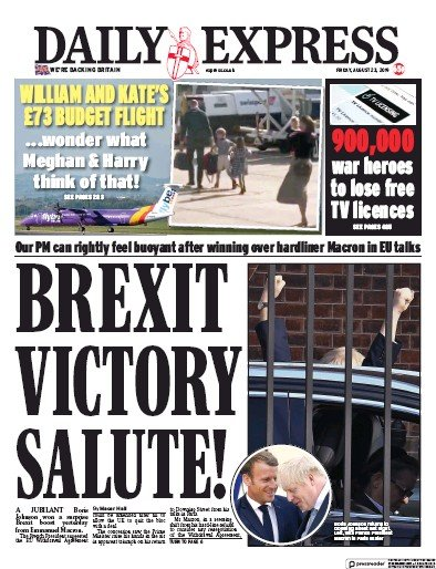 Daily Express Newspaper Front Page (UK) for 23 August 2019