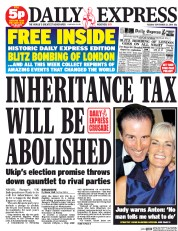 Daily Express (UK) Newspaper Front Page for 23 September 2014